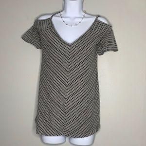 torrid Gray Black Stripe Cold Shoulder 1 C1 0086